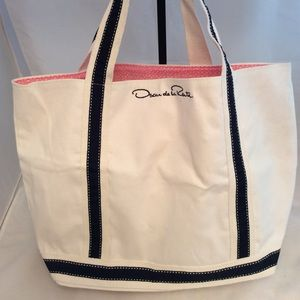 Oscar De La Renta 100% Cotton Canvas Tote Bag
